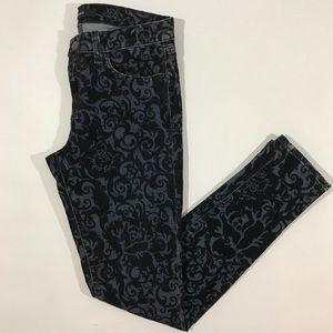J Brand Size 27 Black Brocade Velvet Skinny Jeans